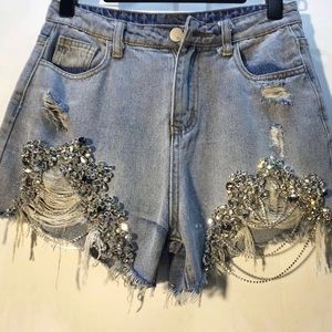 High Waist Stones Shorts